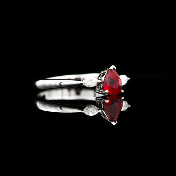 Pear Shaped Ruby & Marquise Diamonds in White Gold Ring - Sindur