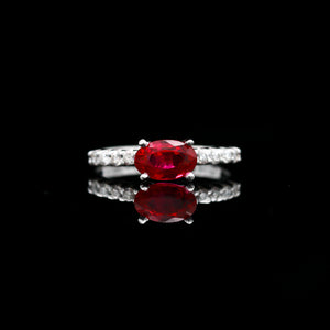 Ruby & Diamonds in White Gold Ring - Sindur