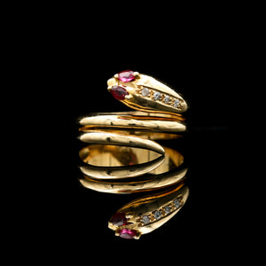 Rubies & Diamonds in Vintage Yellow Gold Snake Ring - Sindur