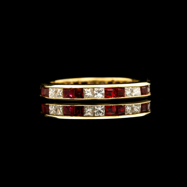 Ruby & Diamond Channel Set Eternity Band - Sindur