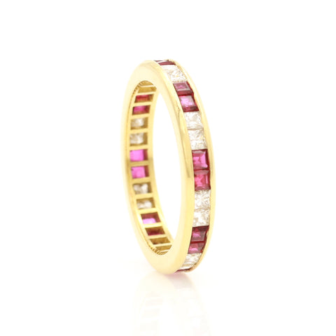 Ruby & Diamond Channel Set Eternity Band - Sindur Style