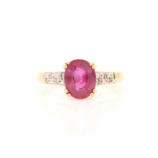 Ruby & Diamonds in Yellow Gold Ring - Sindur