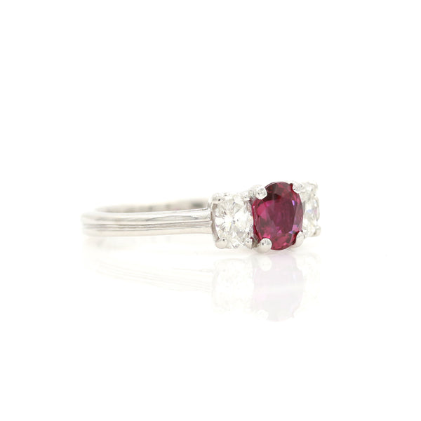 Ruby & Diamond Three Stone Ring in Platinum - Sindur