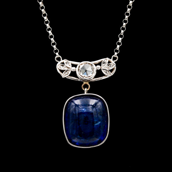 *SOLD* 14.08 CT Tanzanite & Rose Cut Diamonds in White Gold Necklace - Sindur