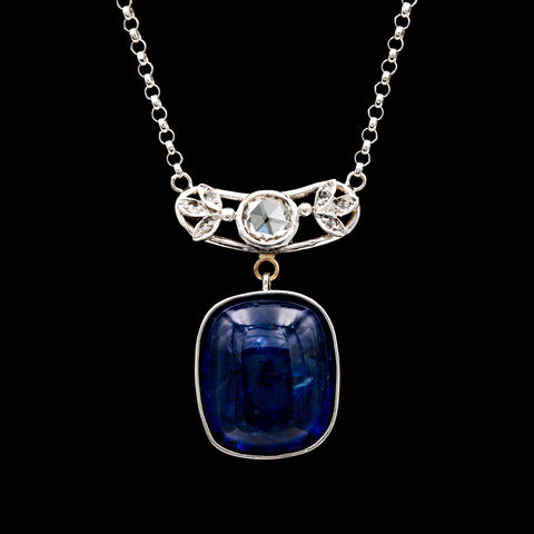 14.08 CT Tanzanite & Rose Cut Diamonds in White Gold Necklace - Sindur Style