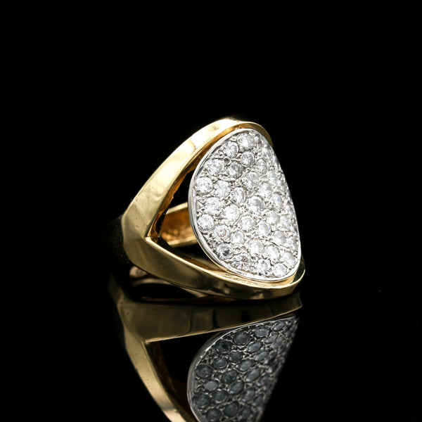 Diamonds in Two Tone Oval Statement Ring - Sindur