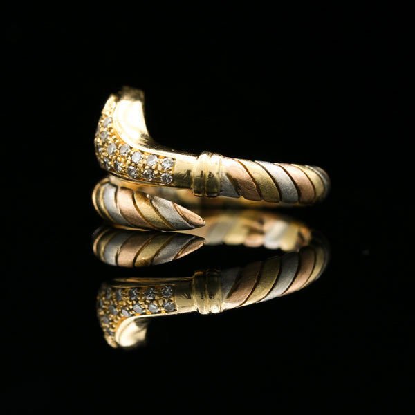 Diamonds & Sapphires in Tri-Color Gold Snake Ring - Sindur