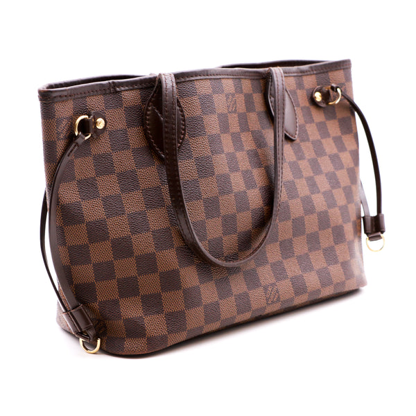 Louis Vuitton Neverfull PM Tote in Damier Ebene Canvas and Leather - Sindur