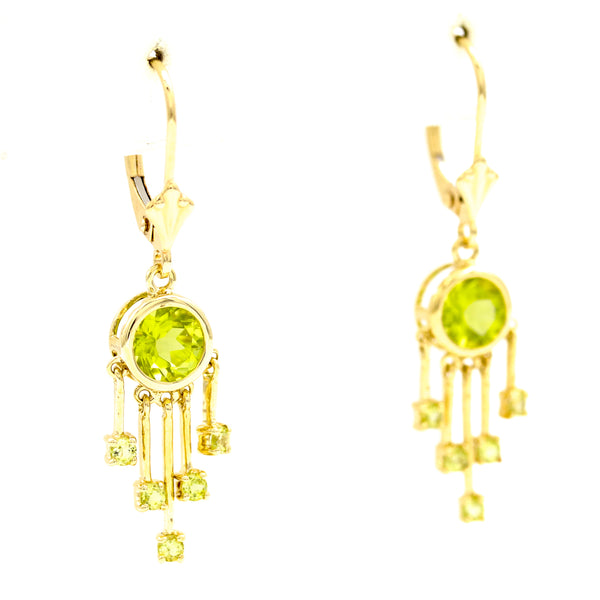 Peridot in Yellow Gold Dreamcatcher Earrings