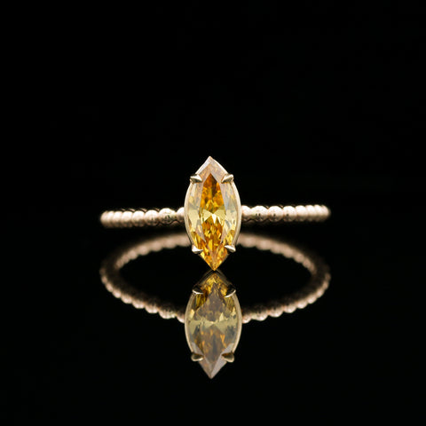 Yellow Marquise Diamond Solitaire in Yellow Gold Ring