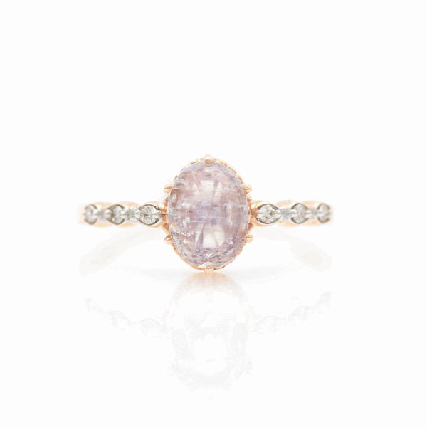 Rainbow Moonstone & Diamonds in Rose Gold Ring