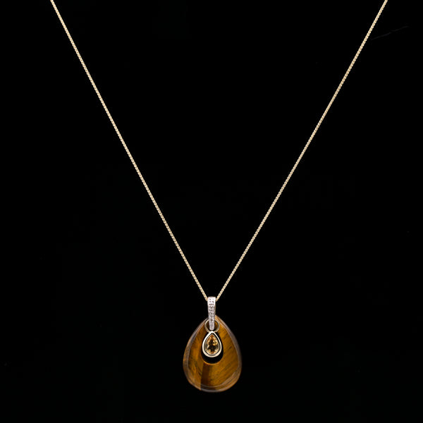 Tiger's Eye, Citrine & Diamonds in Two Tone Gold Necklace