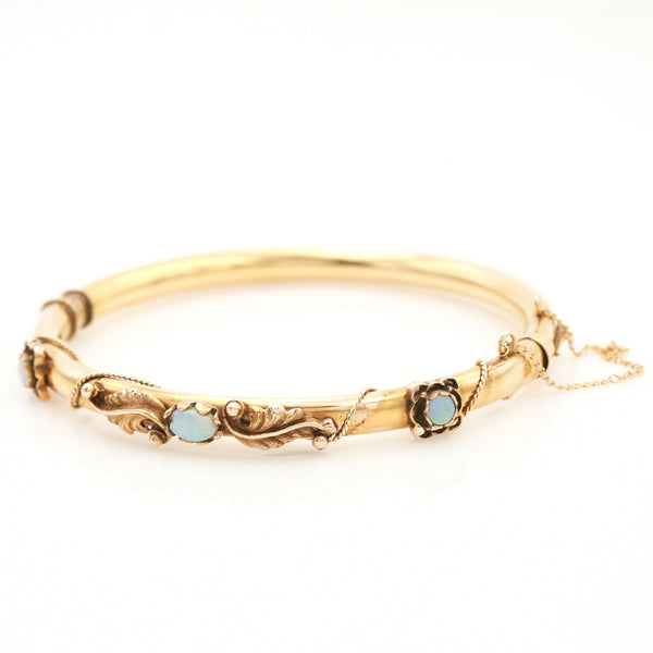 Antique Yellow Gold Opal Bangle