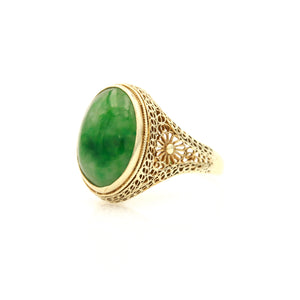 Vintage Yellow Gold Filigree Jadeite Ring