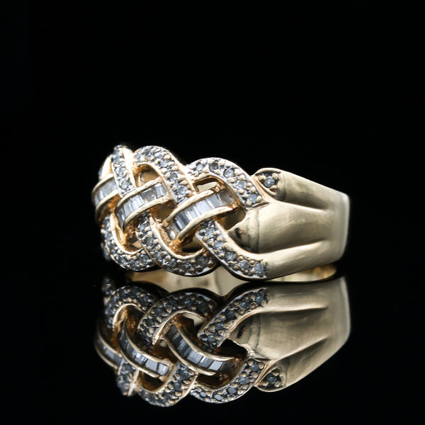 Yellow Gold Diamond Woven Ring
