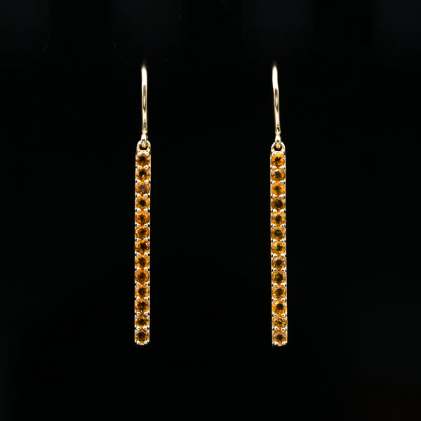 Citrine in Yellow Gold Drop Earrings
