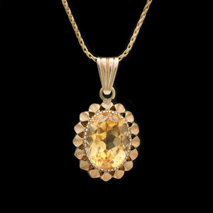 13.50 CT Citrine in Yellow Gold Pendant Necklace