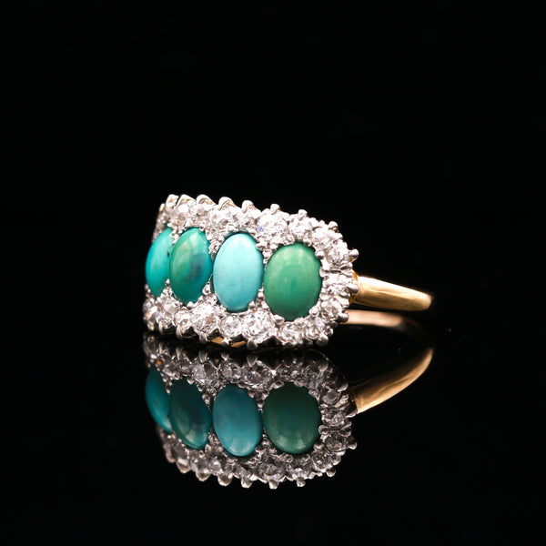 Antique Turquoise & Diamond Ring in Two Tone Gold