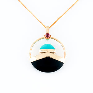 Black Onyx, Chrysoprase & Pink Tourmaline in Yellow Gold Necklace