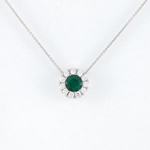 Emerald with Diamond Halo in White Gold Necklace