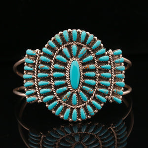 Paul Begay Navajo Sterling Silver Petit Point Turquoise Cuff