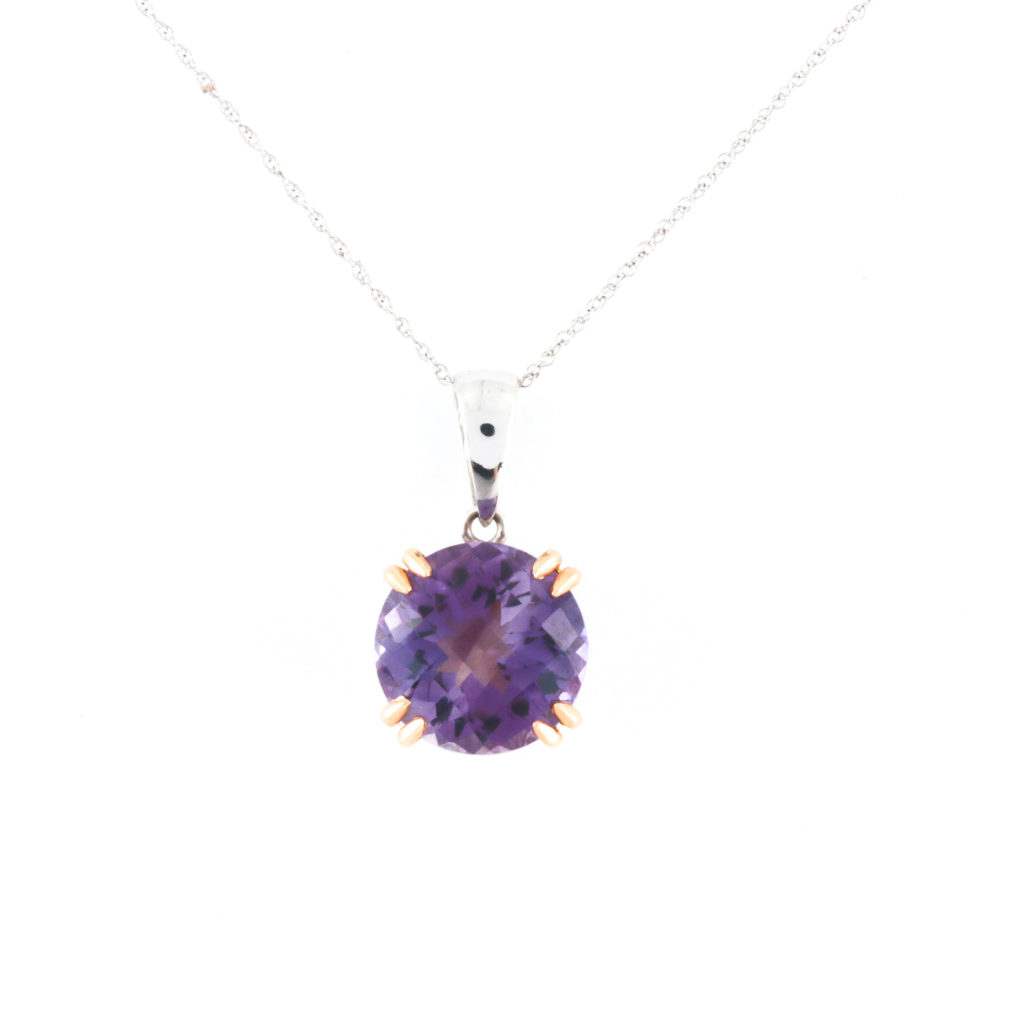 Amethyst in Two Tone Gold Necklace