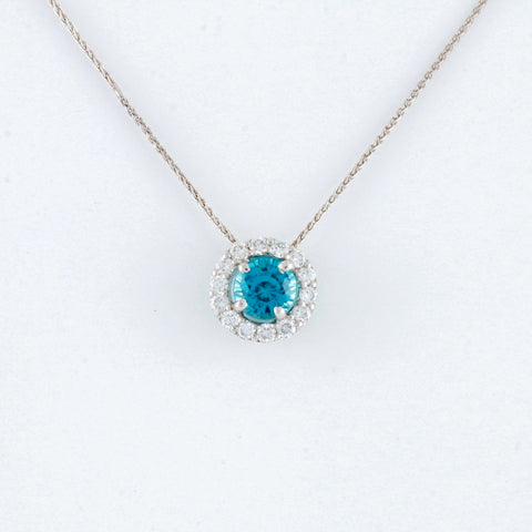 *SOLD* Blue Zircon and Diamonds in White Gold Necklace