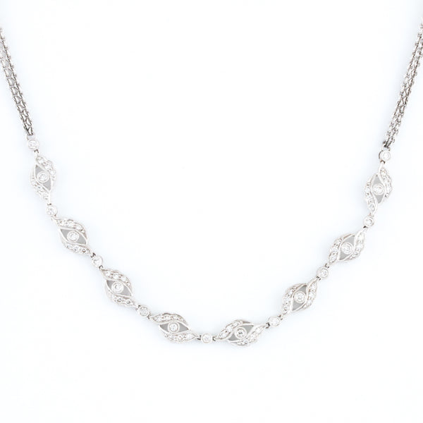 Diamonds in Floral White Gold Necklace - Sindur Style
