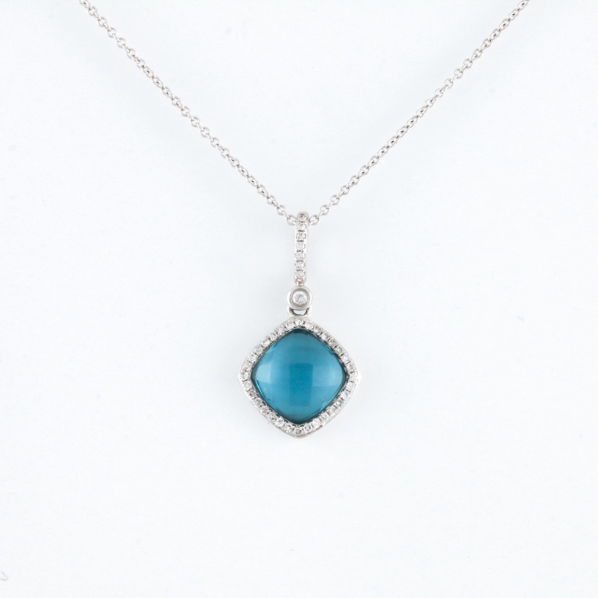 *SOLD* Blue Topaz with Diamond Halo in White Gold Necklace