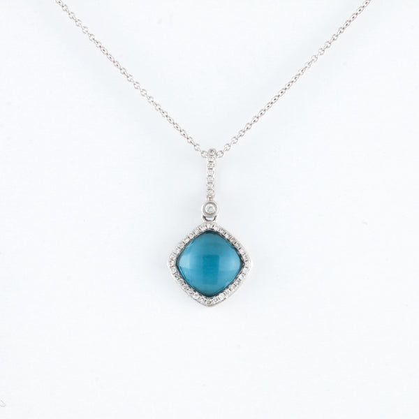 *SOLD* Blue Topaz with Diamond Halo in White Gold Necklace - Sindur