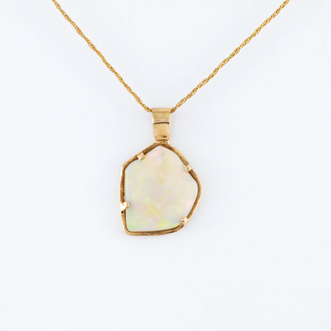 Organic Opal in Yellow Gold Necklace