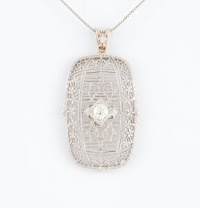Diamond in Antique Filigree White Gold Necklace
