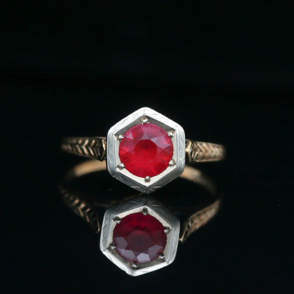 *SOLD* White, While & Warner Yellow Gold Ruby Ring