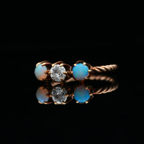 *SOLD* Antique 14k Rose Gold Diamond & Opal Three Stone Ring
