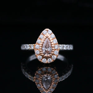 *SOLD* Pink & White Diamond Two Tone Gold Ring