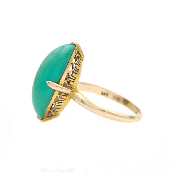 Vintage Yellow Gold Turquoise Ring