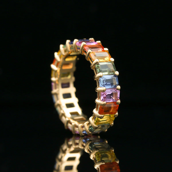 Multi-Color Sapphire Eternity Band