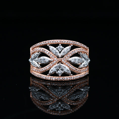 Rose & White Gold Diamond Band