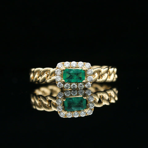 *SOLD* Emerald & Diamond Yellow Gold Ring
