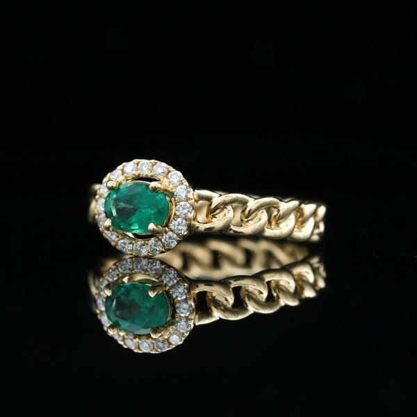 Emerald & Diamond Yellow Gold Ring
