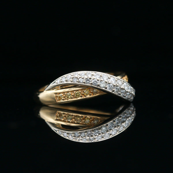 Yellow & White Diamond Two Tone Gold Crossover Ring