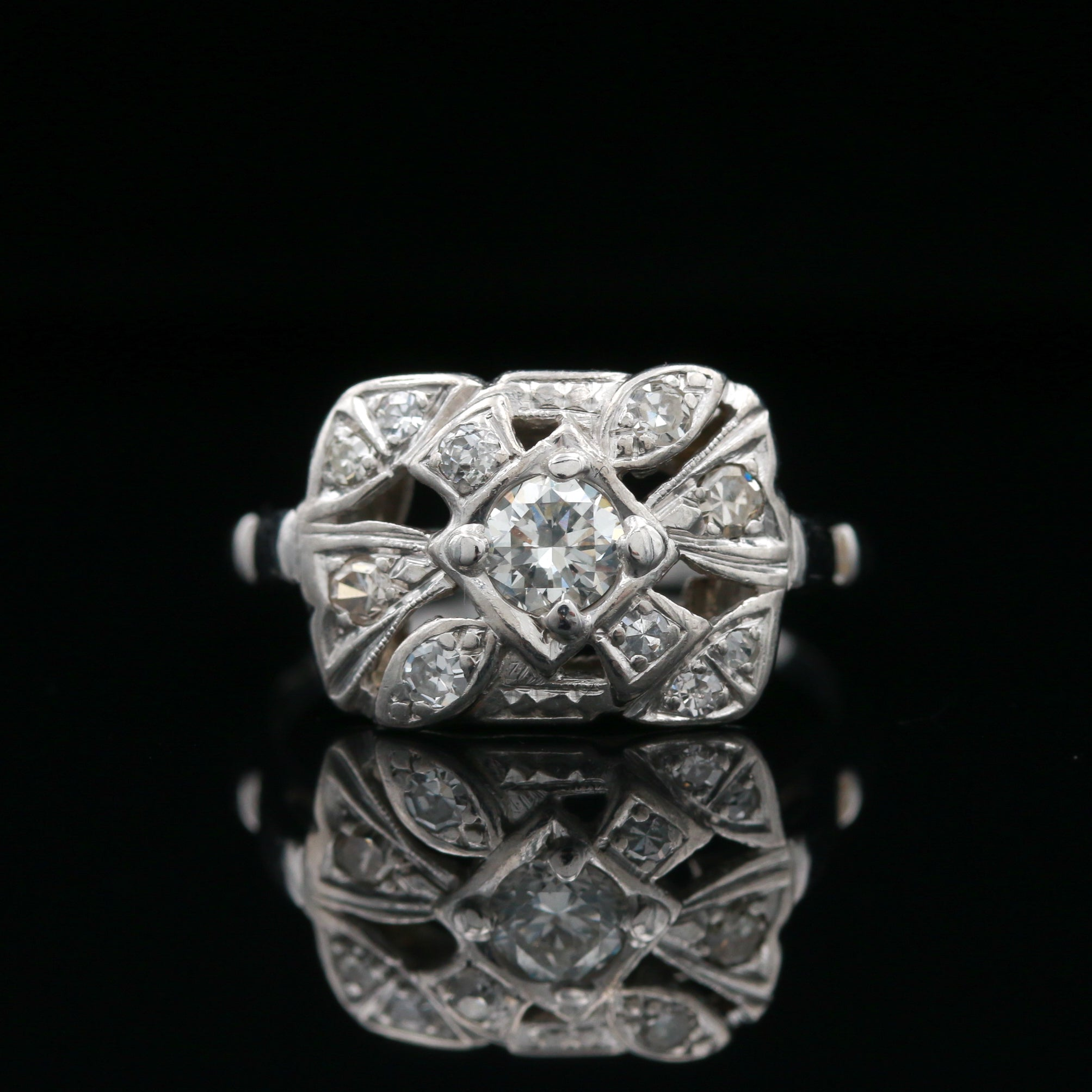Vintage Hand Carved White Gold Diamond Ring