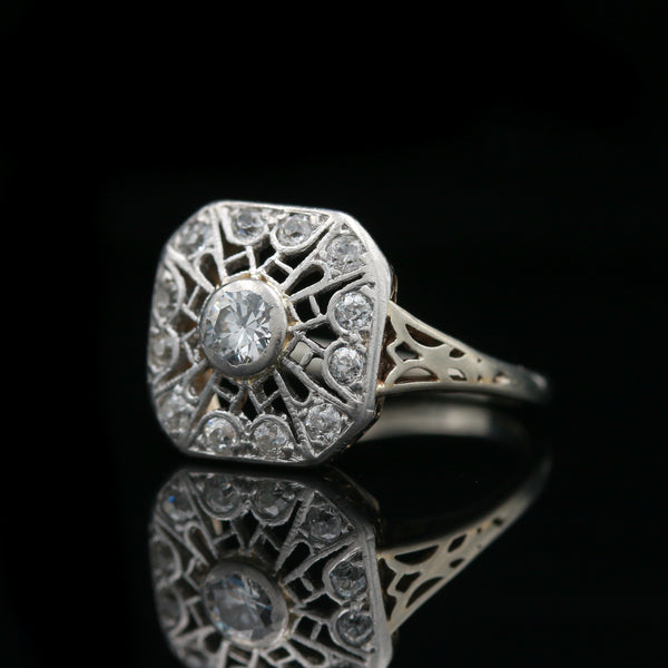 Art Deco Hand Carved White Gold Filigree Diamond Ring
