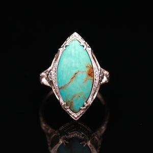 Art Deco White Gold Persian Turquoise Ring
