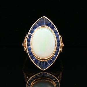 Opal, Sapphire & Diamond Yellow Gold Navette Ring