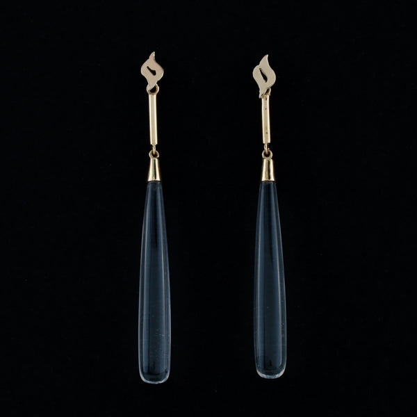 Colorless Rock Quartz Drops in Yellow Gold Earrings - Sindur