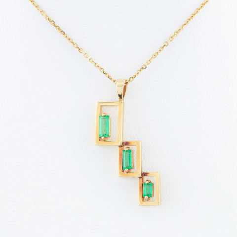 *SOLD* Emeralds in Yellow Gold Necklace - Sindur