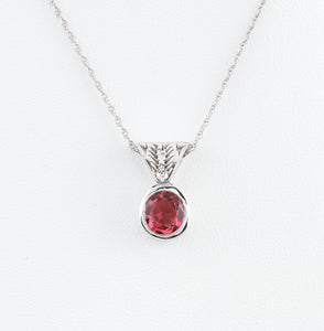 Pink Spinel in Custom Made White Gold Necklace