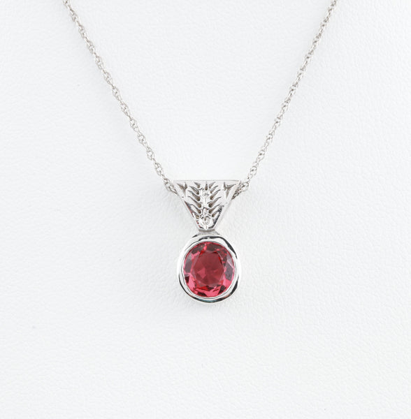 *SOLD* Pink Spinel in Custom Made White Gold Necklace - Sindur Style