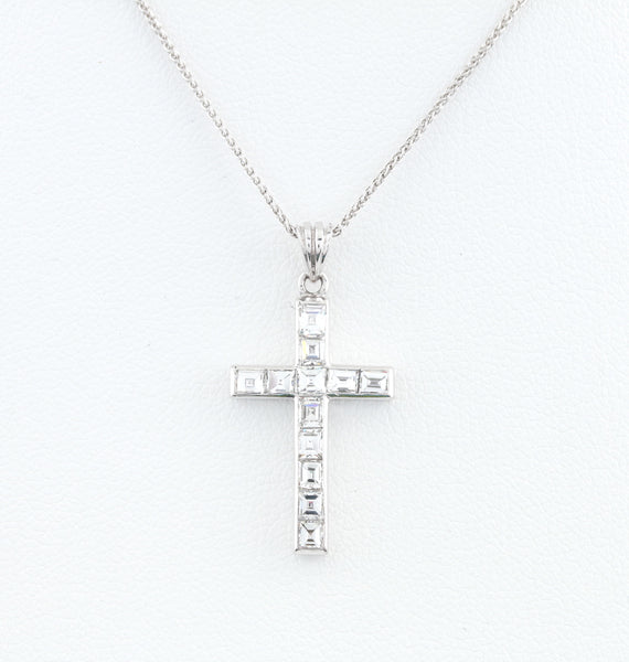 *SOLD* Diamonds in White Gold Cross Necklace